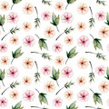 Seamless floral pattern with watercolor pink flowers, green leaves and branches