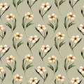 Seamless floral pattern with watercolor pink flowers