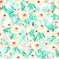 Seamless floral pattern with watercolor pink roses and mint herbs Royalty Free Stock Photo