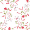 Seamless floral pattern with the watercolor red leaves on the branches and green berries (Mistletoe)