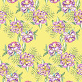 A seamless floral pattern with the watercolor violet and yellow exotic flowers and green leaves