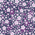 Seamless floral pattern with white colored flowers on dark violet background