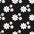 Seamless floral pattern. White flowers on a black background.