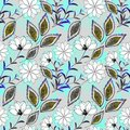 Seamless floral pattern .White flowers on bright blue background. Royalty Free Stock Photo