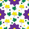 Seamless floral pattern with yellow and lilac flowers and leaves
