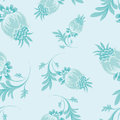 Seamless floral patterns on blue background Stock Photos