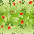 Seamless floral patterns on green background Royalty Free Stock Photography
