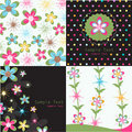 Seamless floral patterns, greeting cards Stock Photo