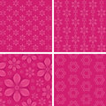 Seamless floral patterns on pink background