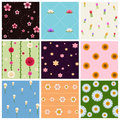 Seamless Floral Patterns Set Royalty Free Stock Photo