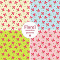 Seamless floral patterns vector illustration set of with delicate pink flowers Stock Photos
