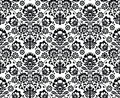 Seamless floral polish pattern in black and white repetitive monochrome background folk art Royalty Free Stock Photography
