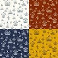 Seamless floral retro pattern of classic style set four color variations Royalty Free Stock Image