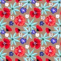 Seamless floral retro pattern.Red,blue, white flowers on light brown background. Royalty Free Stock Photo