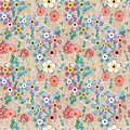 Seamless floral retro pattern. Red, white, blue flowers on a light background. Royalty Free Stock Photo