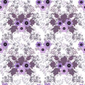 Seamless floral retro pattern on white