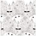 Seamless floral with sheep monochrome pattern