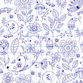 Seamless floral summer doodle pattern style ink style Stock Photos