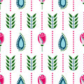 Seamless floral vector pattern. Symmetrcal colorful ornamental background with flowers. Decorative repeating ornament,
