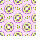 Seamless floral vector pattern, symmetrical background with colorful flowers and green leaves, over light violet backdrop Royalty Free Stock Photo