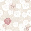 Seamless floral vector pattern white and red roses retro with classic on beige background beautiful abstract vintage texture with Stock Photography