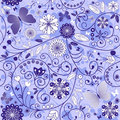 Seamless floral violet-blue pattern Stock Images