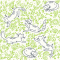 Seamless floral wallpaper with cats Royalty Free Stock Photo