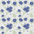 Seamless flower blue roses pattern on white Royalty Free Stock Photo