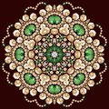 Seamless flower emerald silver and gold fashion print shine be used for wallpaper pattern fills wedding invitations surface Stock Images