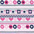Seamless flower and love aztec pattern vector illustration