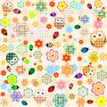 Seamless flower and owl background. vector pattern Royalty Free Stock Photo