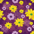 Seamless flower pattern with lined and colored flowers on violet background.