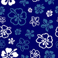 Seamless flower pattern over blue Stock Image