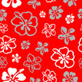 Seamless flower pattern over red Stock Photo