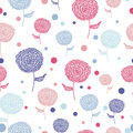 Seamless flower pink blue doodle background pattern Royalty Free Stock Photo