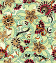 Seamless flower retro background pattern in vector black and white Stock Images