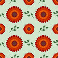 Seamless flower vector pattern, symmetrical background with red flowers and leaves, over light green backdrop Royalty Free Stock Photo