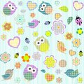 Seamless flowers and owl pattern in vector Stock Photography