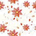 Seamless flowers pattern bright yellow red colored flowers white background Stock Images