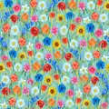 Seamless flowers pattern: daffodil, tulip, chamomile, poppy, cornflower, sunflower, bluebell, rose on the grass