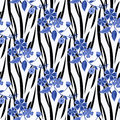 Seamless  flowers pattern striped background Royalty Free Stock Photo