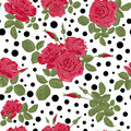 Seamless flowers of red roses pattern with dots, circles backgro Royalty Free Stock Photo