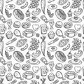 Seamless food pattern Stock Photography