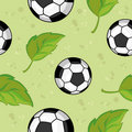 Seamless football and leaves Royalty Free Stock Images