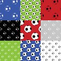 Seamless football soccer patterns different colour combinations Stock Photo