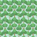 Seamless forest vertical pattern with stylized green trees Stock Photography