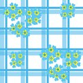 Seamless forget-me-not pattern on checkered background