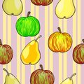 Seamless fruit pattern apples and pears Stock Images