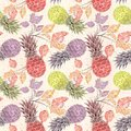 Seamless fruit pattern. Colorful pineapples, sprigs on a light beige background .