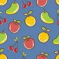 Seamless Fruits Pattern, apple orange cheery mango